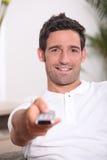 Man watching television Stock Photos