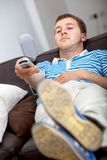 Man watching tv Stock Photos