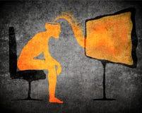 Man watching tv. Subliminal message concept Stock Photos