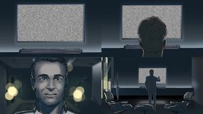 Man watching tv amazed. Storyboard royalty free illustration