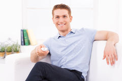 Man watching TV. Royalty Free Stock Photo