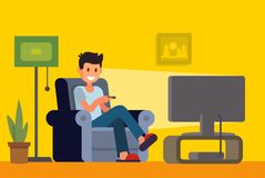 Man watching TV on sofa in home interior. Vector flat Royalty Free Stock Photo