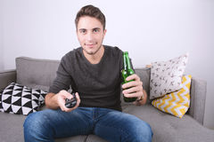 Man watching tv sport, Royalty Free Stock Photo