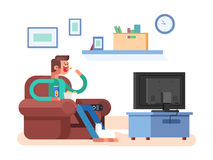 Man watching TV. Television and leisure, sofa indoor, movie and film, vector illustration Stock Photography