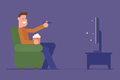Man watching tv. Man watching television on sofa. Vector flat illustration vector illustration