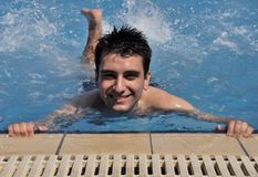 Man in water gymnastics Royalty Free Stock Photography