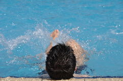Man in water gymnastics Stock Photos