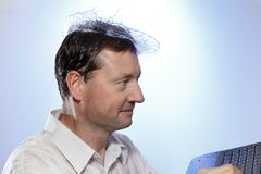 Man with water hat Royalty Free Stock Images