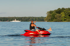 Man on a water jetski Stock Image