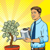 Man water money tree pop art style vector Stock Image