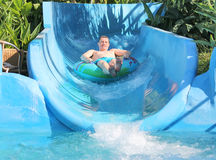 Man in the water park Royalty Free Stock Photography