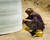 Man at Water reservoir royalty free stock image