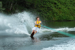 Man water skiing on lake Royalty Free Stock Photography
