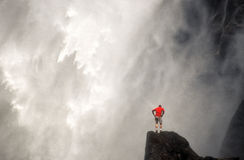 Man and Waterfall, Yosemite California Stock Photo