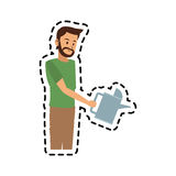 Man with watering can icon image Stock Images