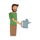Man with watering can icon image Royalty Free Stock Images