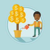 Man watering financial tree vector illustration. African-american businessman watering financial tree. Businessman taking care of finances. Man investing in Royalty Free Stock Images