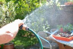 Man watering the garden with a sprinkler hose on a sunny day. Man watering the garden with a sprinkler hosepipe on a sunny day stock photography