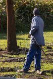 A Man Watering The Garden royalty free stock images