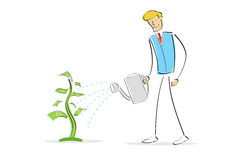 Man watering money plant Royalty Free Stock Photos