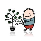 Man watering a money tree Stock Photography