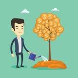 Man watering money tree vector illustration. Stock Photos