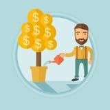 Man watering money tree vector illustration. Stock Photography
