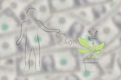 Man watering a plant with  Japanese Yen currency symbol growing. Grow your profits or capital conceptual illustration: man watering a plant with Japanese Yen Stock Photography