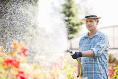 Man watering plants outside greenhouse Stock Images