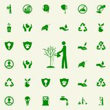 Man watering a tree green icon. greenpeace icons universal set for web and mobile. On colored background vector illustration