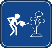Man watering a tree traffic sign Royalty Free Stock Photography
