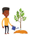 Man watering tree vector illustration. An african-american friendly man watering tree. Gardener with watering can. Young man gardening. Concept of environmental Stock Image