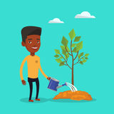 Man watering tree vector illustration. An african-american friendly man watering tree. Smiling male gardener with watering can. Young man gardening. Concept of Stock Photography