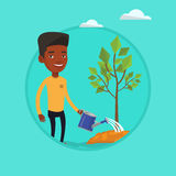 Man watering tree vector illustration. African-american man watering tree. Male gardener with watering can. Young man gardening. Concept of environmental Royalty Free Stock Photography