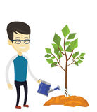 Man watering tree vector illustration. Asian friendly man watering tree. Smiling male gardener with watering can. Young man gardening. Concept of environmental Royalty Free Stock Photo