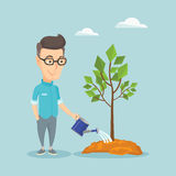 Man watering tree vector illustration. Caucasian friendly man watering tree. Gardener with watering can. Young man gardening. Concept of environmental Royalty Free Stock Photos