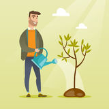 Man watering tree vector illustration. Caucasian friendly man watering tree. Gardener with watering can. Young hipster man with beard gardening. Concept of Royalty Free Stock Photography