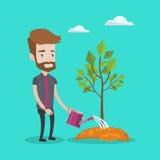 Man watering tree vector illustration. Royalty Free Stock Photos