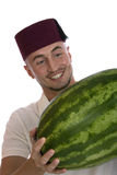 Man with watermelon Stock Photo