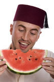 Man with watermelon royalty free stock images