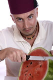 Man with watermelon royalty free stock photos