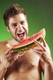 Man with a watermelon royalty free stock image