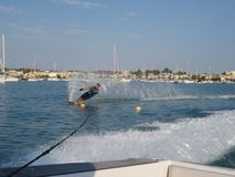 Man waterskiing slalom Royalty Free Stock Images
