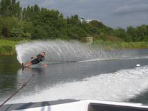 Man waterskiing slalom Royalty Free Stock Image