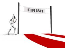 Man waveing a flag. Crash test dummy waveing a flag on a finish line over a white background Stock Photos