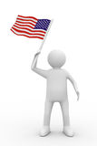 Man waves flag on white background Stock Image