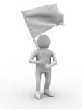 Man waves flag on white background Stock Photo