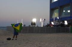 Man waving Brazilian flag Stock Photos