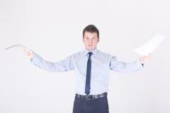 A man waving papers Stock Photos