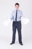 A man waving papers Royalty Free Stock Photos